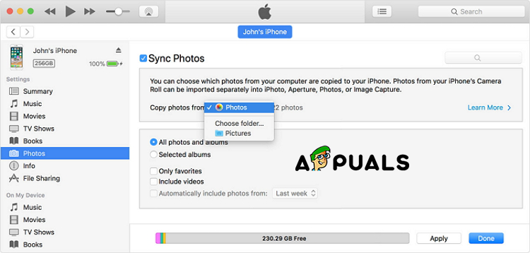 Restore From iTunes Photos