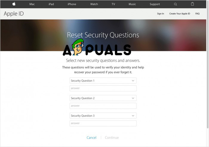 Select new security questions