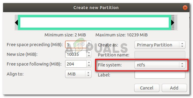 Create a new NTFS partition and click Add