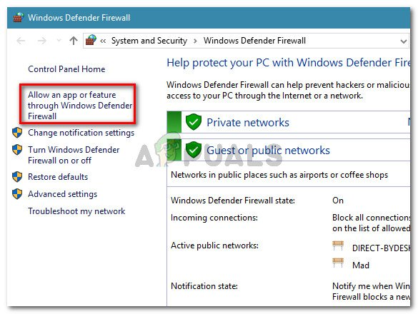 Click on Allow an app or feature through Windows Defender Firewall