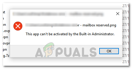 This app can't be activated by the built-in administrator
