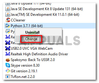 Change Python installation