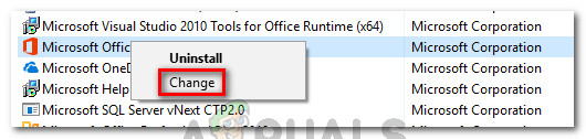 Changing the installation of Microsoft Office