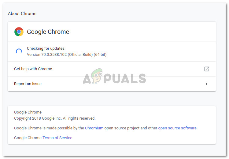 Ensuring that you're running the latest version of Google Chrome