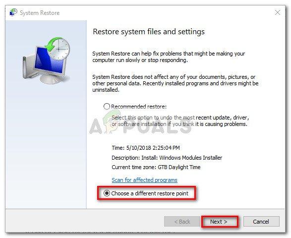 Select the Choose a different restore point toogle and hit Next