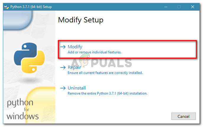 Click on Modify to ensure that PiP is installed