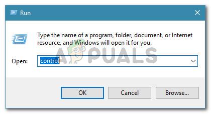 Run dialog box: control