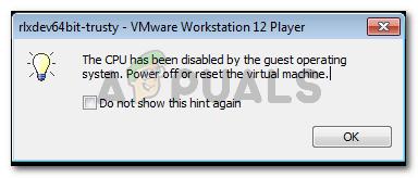 Die CPU wurde vom Gastbetriebssystem deaktiviert.  Schalten Sie die virtuelle Maschine aus oder setzen Sie sie zurück.