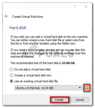Browsing to the location of the VDI file before creating the new machine