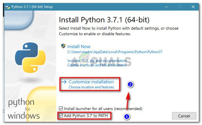 Ensure that Python is added to PATH, then click on Customize installation
