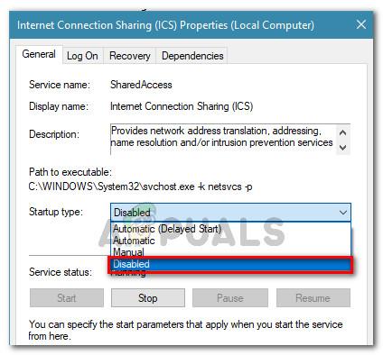 Ändern des Starttyps des ICS-Dienstes in Deaktiviert