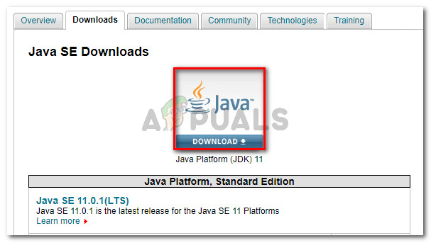 Click on the JDK download button