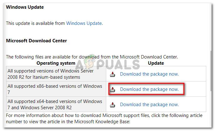 Downloading Microsoft's hotfix