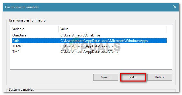 Select the Path variable and click Edit