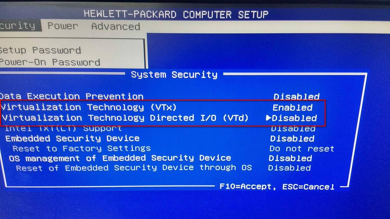Enabling virtualization on a HP-based BIOS