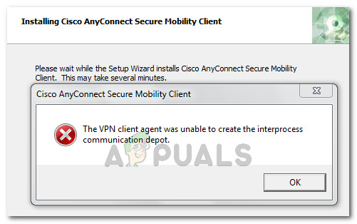 The VPN client agent was unable to create the interprocess communication depot