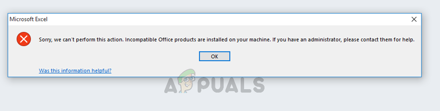 Sorry, we can't perform this action. Incompatible Office products are installed on your machine. If you have an administrator, please contact them for help.