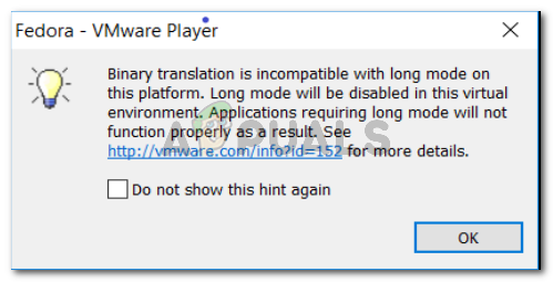 Binary translation is incompatible with long mode
