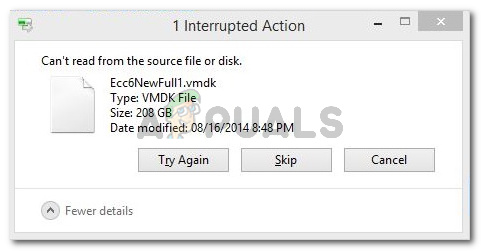 Interupted Action: Can't read from the source file or disk.