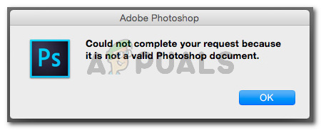 Could not complete your request becauseit is not a valid Photoshop document