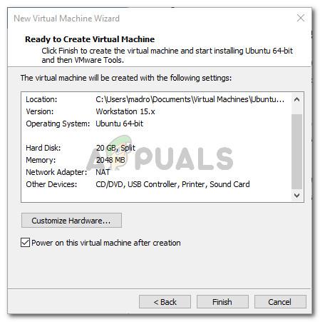 Fertigstellen der Kiste der neuen virtuellen VMware-Maschine