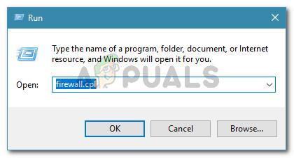 Run dialog: firewall.cpl