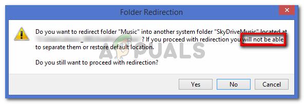 Die Windows-Eingabeaufforderung warnt Sie, dass Sie nicht am Standardspeicherort wiederherstellen können