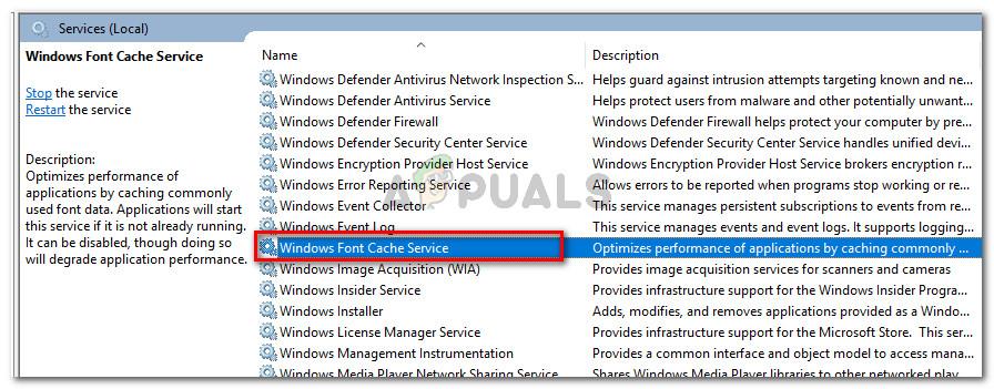 Double-click on Windows Font Cache service