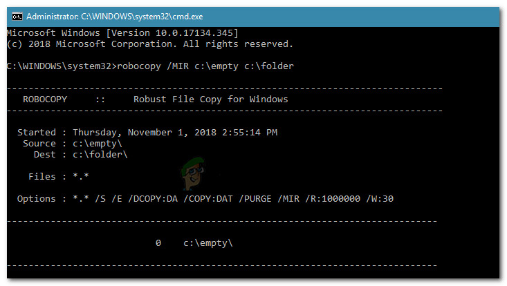 Forcing the deletion of the folder with Robocopy