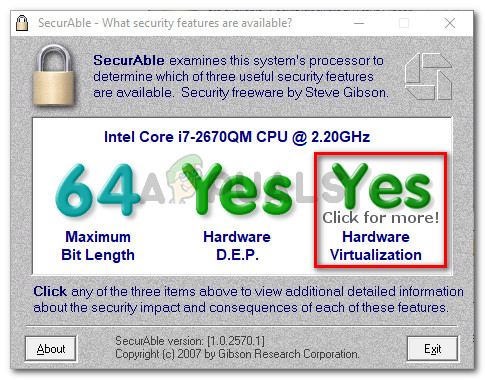 Hardware Virtualization is supported in this example