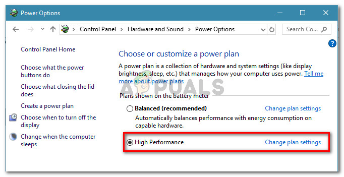 Set a High Performance power plan