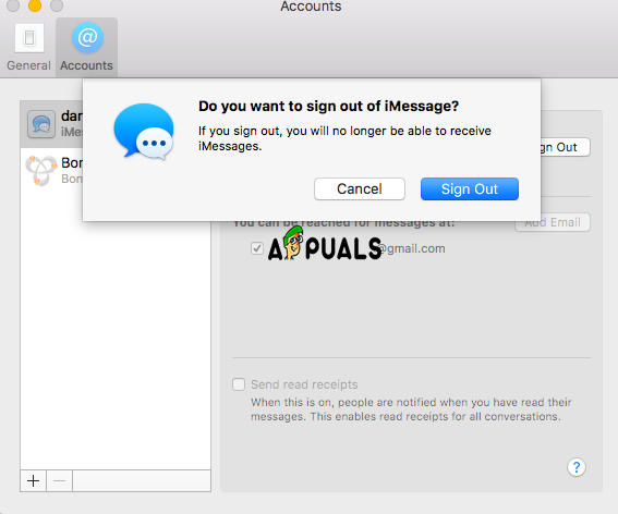 iCloud Sign out