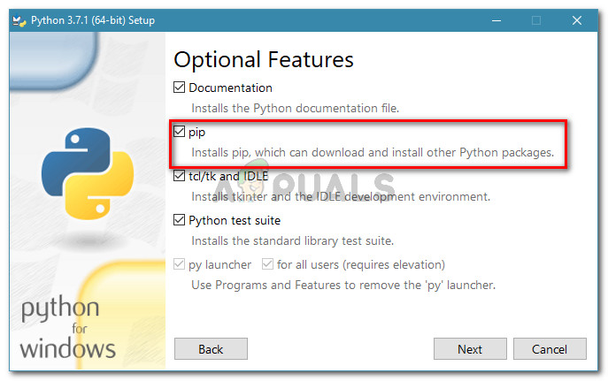 Modifying the Python installation to include PiP