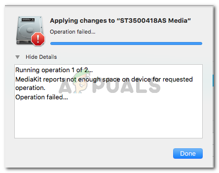 Mediakit reports not enough space on device for requested operation