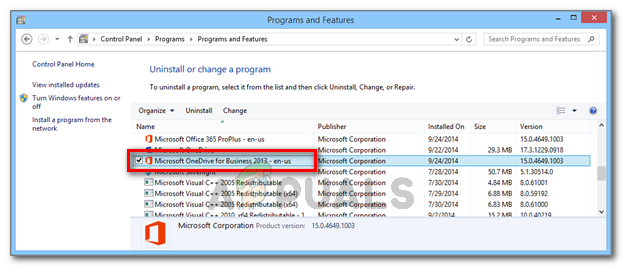 Uninstalling Microsoft OneDrive for Business 2013