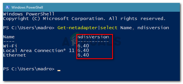 Ensure that NdisVersion is 6.3 or greater