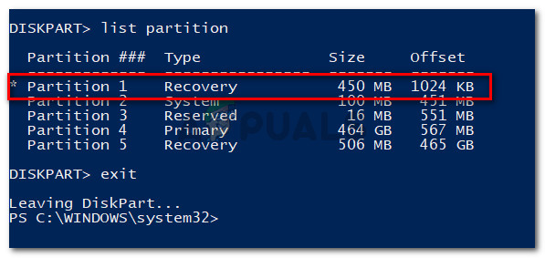 Identifying the Partition number of the Recovery environment