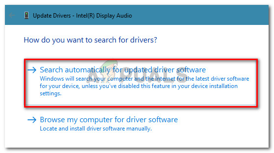 Click on Search automatically for update driver software