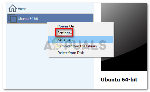 Right-click on your virtual machine and click on Settings