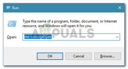 Run dialog: ms-settings:sync