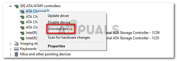 Right-click on a ATA channel and choose Uninstall device
