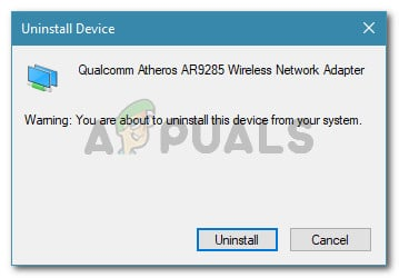 Click on Uninstall to remove the Network Wireless Adapter driver