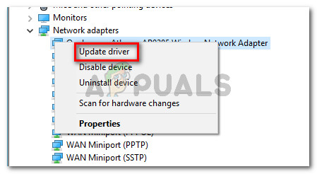 Right-click on your Wireless Network adapter driver and choose Update driver