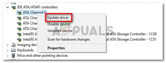 Updating each channel under IDE ATA ATAPI controller