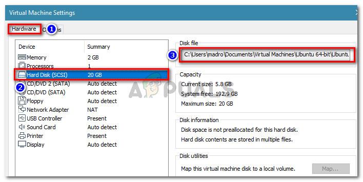 """Gehen Sie zu Hardware> Festplatte (SCSI) und zeigen Sie den Speicherort der Festplattendatei an"""" width=""""708″ height=""""355″ srcset=""""https://cdn.appuals.com/wp-content/uploads/2018/11/virtual-machine-settings.jpg 708w, https://cdn.appuals.com/wp-content/uploads/2018/11/virtual-machine-settings-150×75.jpg 150w, https://cdn.appuals.com/wp-content/uploads/2018/11/virtual-machine-settings-300×150.jpg 300w"""" sizes=""""(max-width: 708px) 100vw, 708px""""/><figcaption id="""