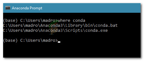 Discovering the location of conda