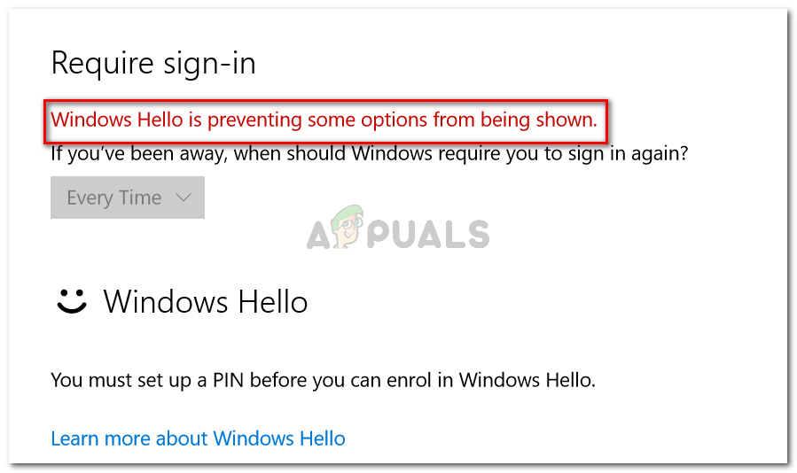 Windows Hello is preventing some options from being shown
