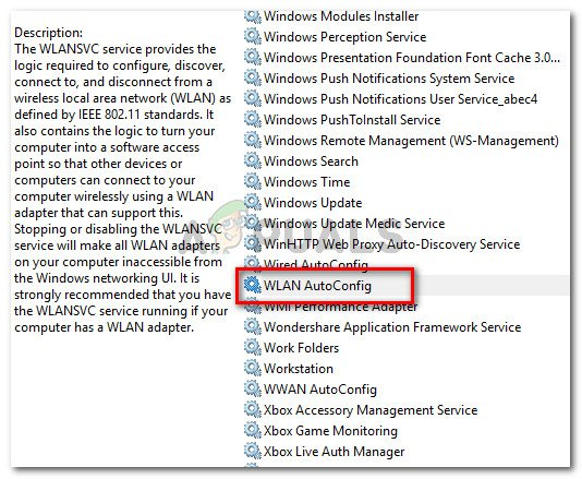 In the Services screen, double-click on WLAN AutoConfig
