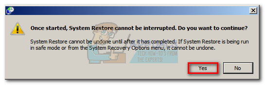 Confirm that you want to restore your machine using a System Restore Point