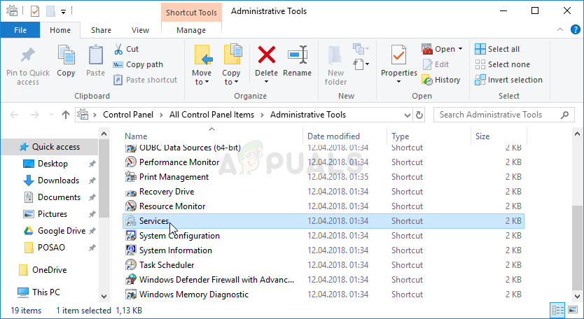 Services in Administrative Tools
